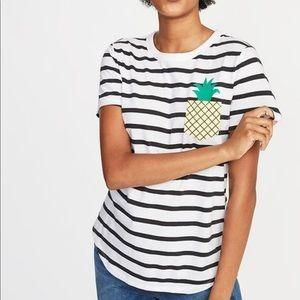 OLD NAVY• everywear striped pineapple pocket tee
